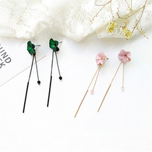Korean temperament female long flowers, earrings, personality, simple, net red, tassel, ear line, fashion earrings. цена 2017