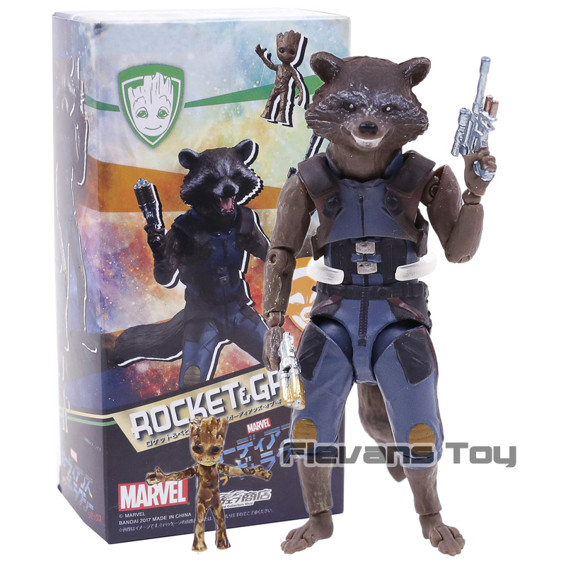 SHF SHFiguarts Guardians of the Galaxy Rocket Raccoon & Tree Man PVC Action Figure Collectible Model Toy цена