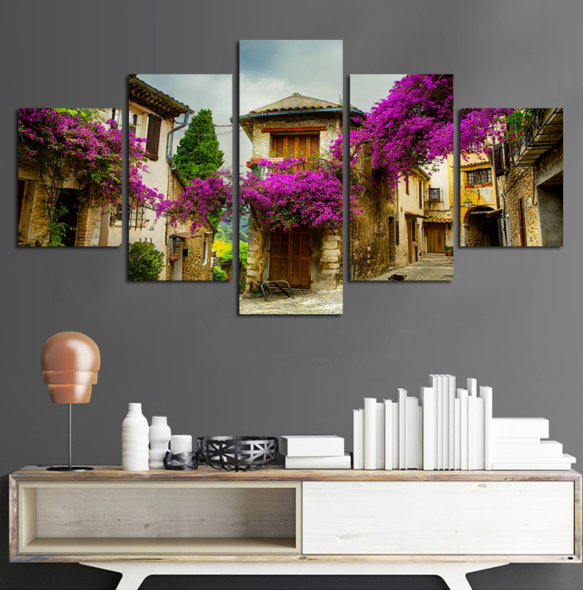 Purple And Yellow Kitchen Wall Art Unframed Kitchen: High Definition Purple Flower The Street Canvas Painting