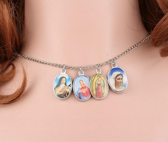 Catolicism dublu feminin Allah Fecioară Maria icoană Colier de argint vintage choker colier bijuterii pandantiv pentru femei nou