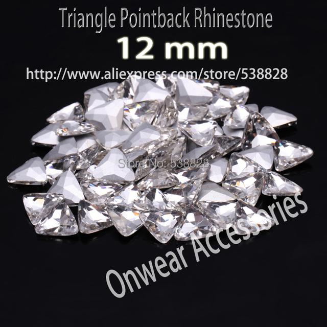 225 unids 12 mm triángulo cortó facetas cristalinas Rhinestone cristal de lujo Beads Rivoli para la joyería vestido artesanía hacer