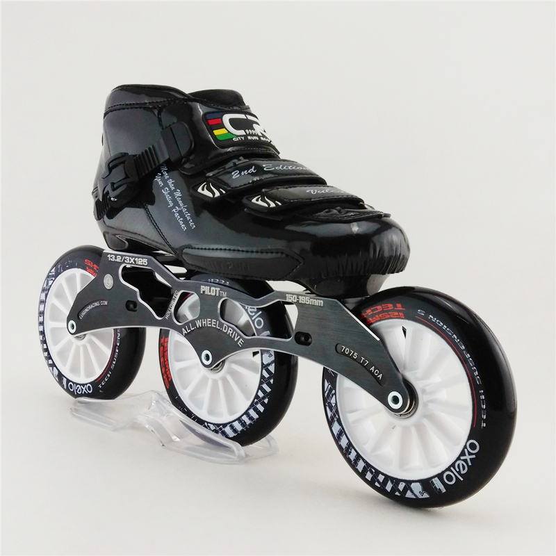 Professional carbon Fiber speed skating shoes Racing shoes adult Roller skates shoes with 3X125mm round cake big wheel children roller sneaker with one wheel led lighted flashing roller skates kids boy girl shoes zapatillas con ruedas