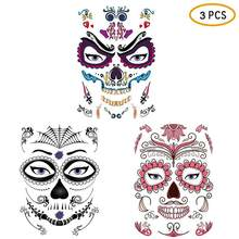 3pcs Temporary Tattoo Stickers Day of The Dead Skull Face Halloween Cool Facial Beauty Tattoo Waterproof Party Masquerade Decor(China)