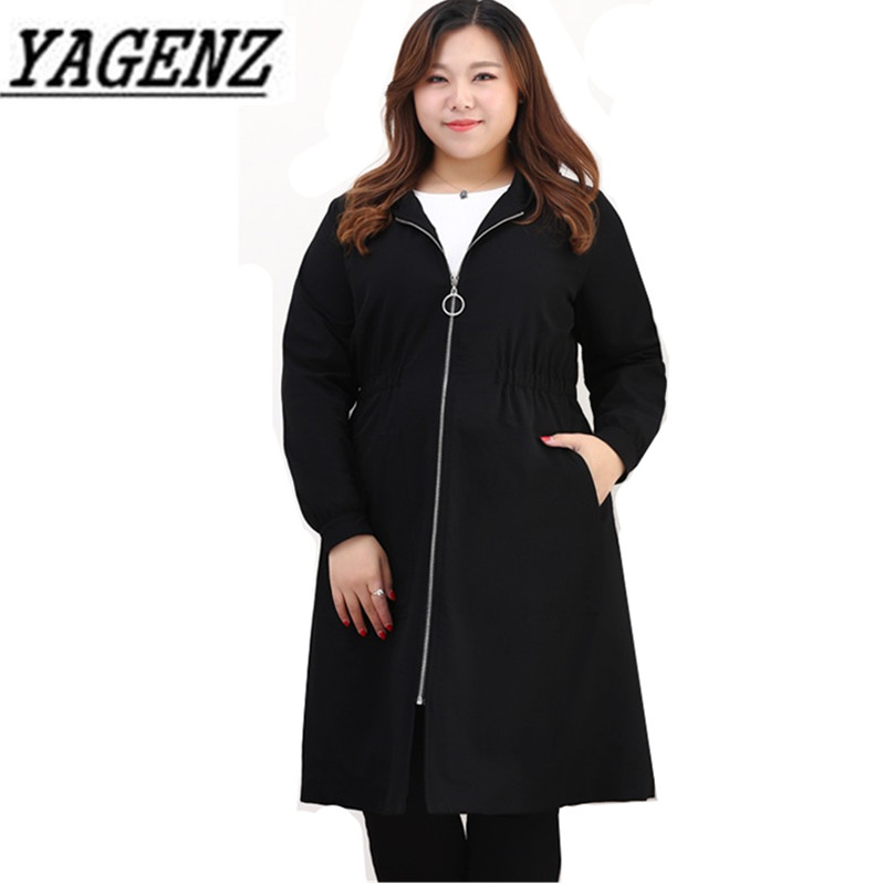 2018 Spring Women's Hooded Windbreaker Korean Loose Medium-long Black Outerwear Large size Female Casual   Trench   Coats 4XL-10XL