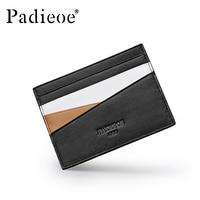 Padieoe Designer Mini Wallet Male Genuine Leather Men Wallet Male Panelled Card Holder Smart Card Organizer Slim Wallet Black