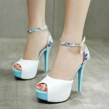 Women High Heels Sandals Stiletto Platform Lady Shoes Spring/Summer White/Pink/Black Sandals Classic Female Shoes Woman Footwear pink palms women summer shoes new navy denim platform shoes folk flower embroidered fabric high heels sandals