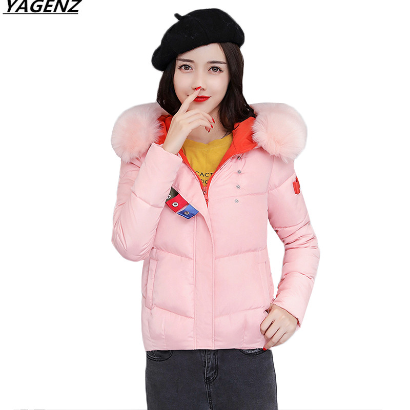 Heat Sell Winter Jacket 2017 New Female costume Parkas Hooded Outerwear Fashion Fur Collar Down Cotton
