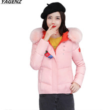 Heat Sell Winter Jacket 2017 New Female costume  Parkas Hooded Outerwear Fashion Fur Collar Down Cotton Warm Short Jacket YAGENZ