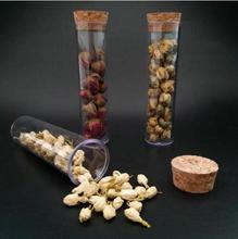 Tubo de ensayo de plástico con corcho parte inferior plana transparente, tubos de té perfumados vacíos, como tubo de té perfumado de vidrio, 30x115mm, lote de 50 unidades