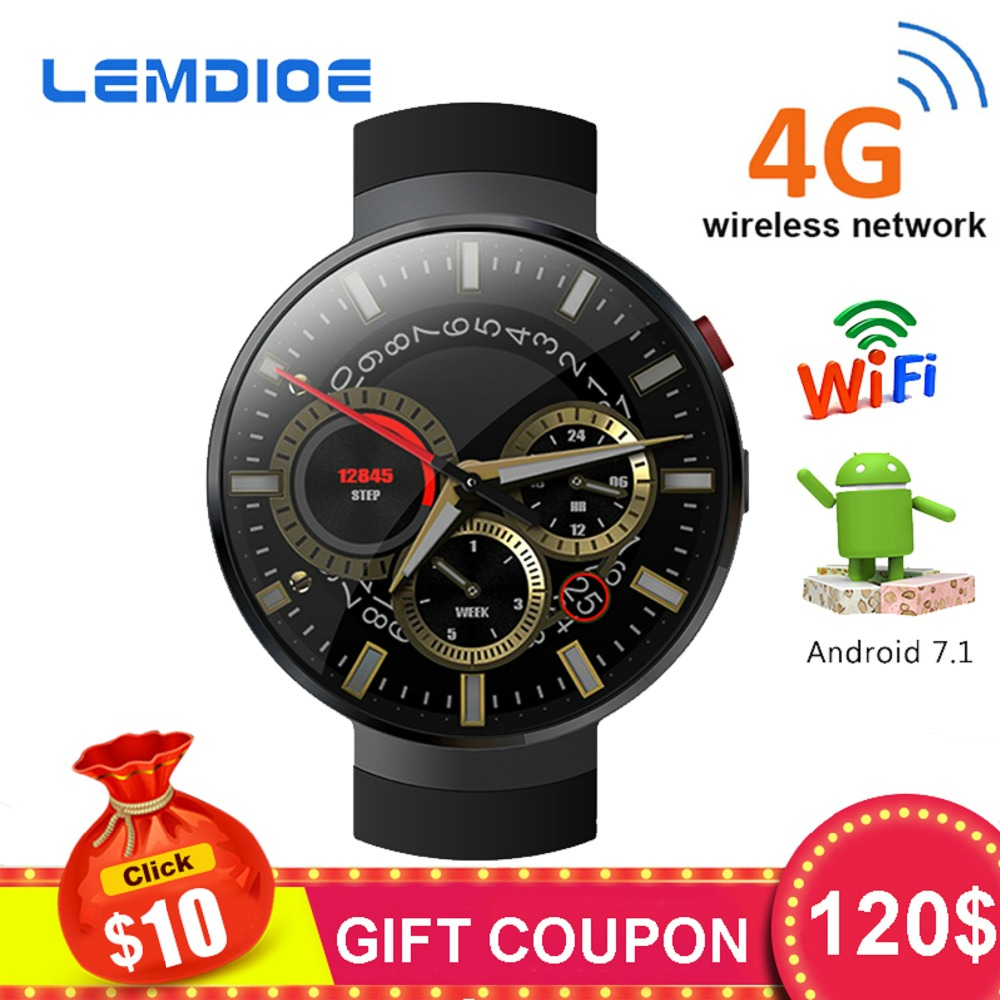 LEMDIOE LEM7 Smart Watch Android 7.1 LTE 4G Smartwatch 2MP Camera WIFI Heart Rate 1GB + 16GB Memory with Camera Translation Tool цена