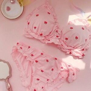 Image 2 - Dâu tây/Hoa In Nhật Bản Lụa Sữa Áo & Quần Lót Bộ Wirefree Quần Lót Mềm Mại Dùng Thân Thiết Bộ Kawaii Lolita
