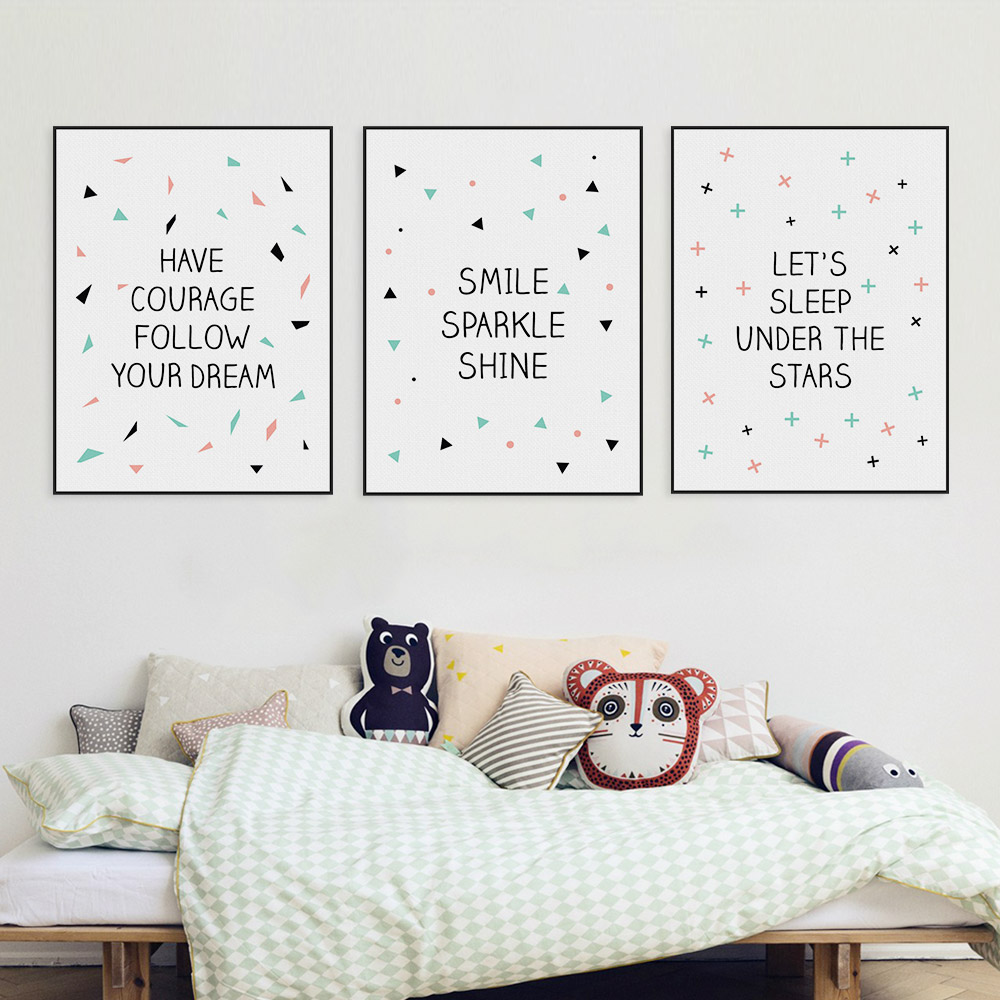 minimalist nordic motivational typography dream stars quotes a4 canvas art print poster baby kids room decor