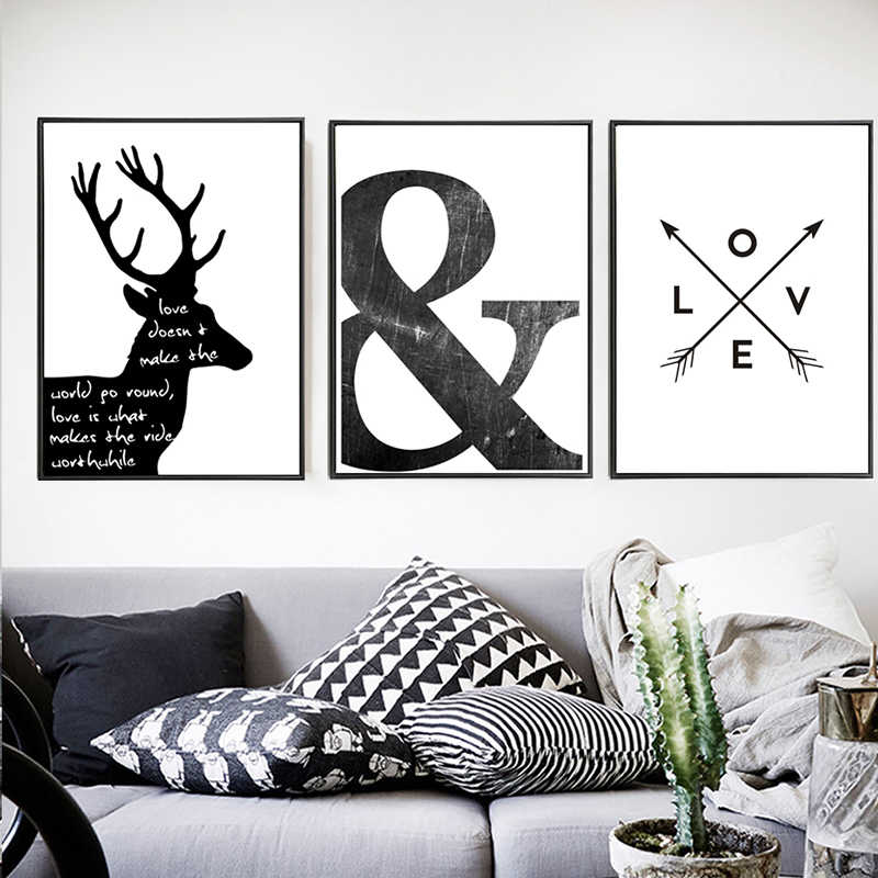 Canvas Painting Black White Abstract Minimalist Symbol Nordic Scandinavian Wall Art Picture Poster Print Living Room Home Decor