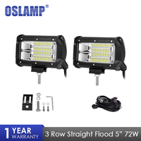 Oslamp 2 pcs 72 W Chips de LED Light Work Bar Offroad Feixe de Inundação Levou Luz de trabalho Caminhão SUV ATV 4x4 4WD 12 v 24 v Led de Condução Da Lâmpada