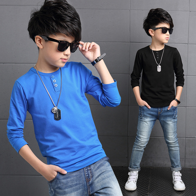 Cotton Children Boys Long Sleeve T-shirts For Kids Clothing Tees Baby Boys Designer Tops Kids O Neck T Shirts 5 7 9 11 13 Years