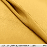 SILK CREPE DE CHINE 114cm width 30momme/100% Natural Silk Fabric 2017 Heavy Chinese Silk Pajamas for Women Fabric Golden NO08