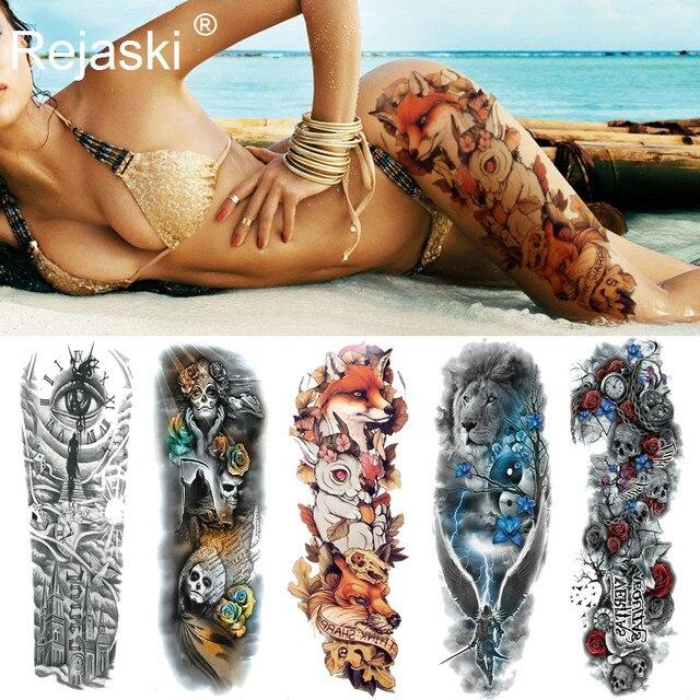 Сексуальная Волк Полный Цветок Arm Временные татуировки наклейки для Для мужчин тела Книги по искусству рукавом переводные тату девушка Для женщин Водонепроницаемый Татуировка лиса ноги