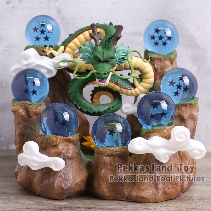 Dragon Ball Z Mountain Stand + Shenron + 7pcs Crystal Balls PVC Figure Toy Set