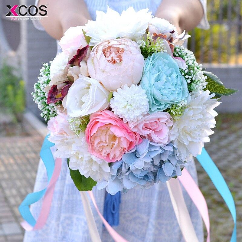 Aliexpress Com Buy 2018 Blue White Pink Artificial Wedding Flowers