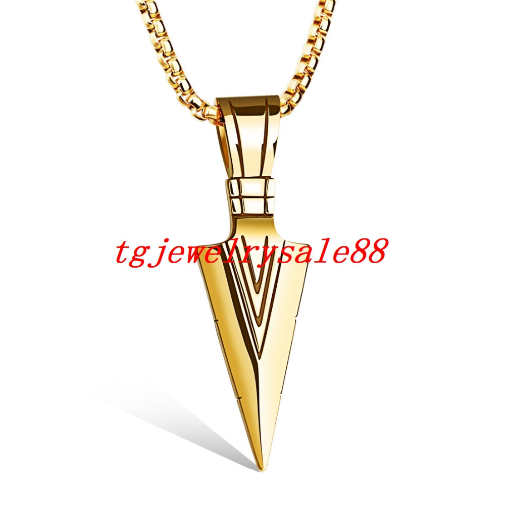 Top hot sale gold arrowhead pendant cool mens stainless steel punk top hot sale gold arrowhead pendant cool mens stainless steel punk style necklace jewelry 24 box chain free in chain necklaces from jewelry accessories aloadofball Image collections