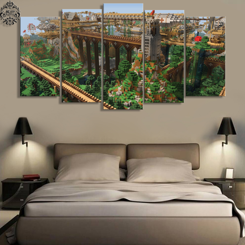5 Panel Canvas Printed Minecraft Landscape Game Poster Art Home Decor For Living Room Canvas Painting Wall Art Pictures Cuadros