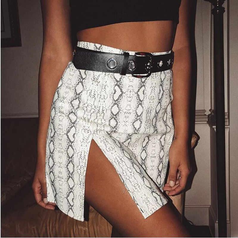 05986bea0a ... BOOFEENAA Snake Skin Print Split Mini Skirt Sexy Club Wear Harajuku High  Waist Bodycon Pencil Skirts ...