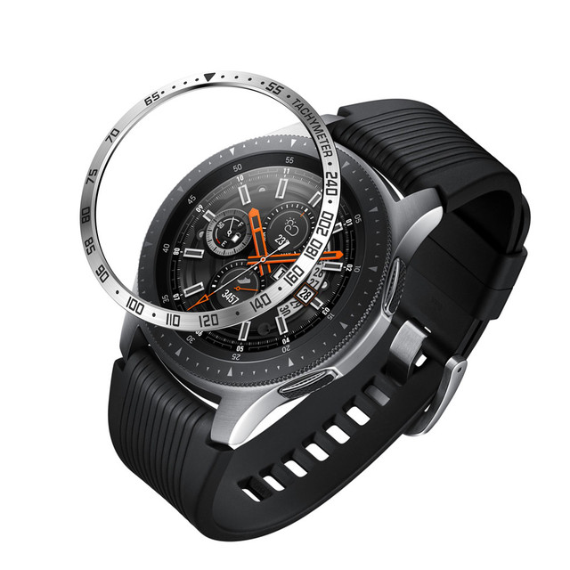 smart watch Cover For Samsung Galaxy Watch 46MM Bezel Ring Adhesive Cover Anti Scratch Metal#y4