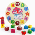 On Stock Hot Sale Cute Promotion Wooden 12 Number Colorful Puzzle Toy Baby Educational Bricks Toy clock Kids Toys