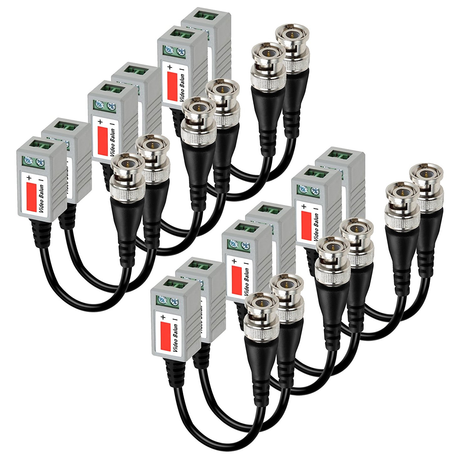 12 Pcs Camera CCTV BNC CAT5 Video Balun Passive Transceiver Cable Adapter Connector
