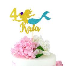 Sereia bolo topper glitter topper idade bolo topper decorações da festa de aniversário fontes da festa de aniversário decorações crianças