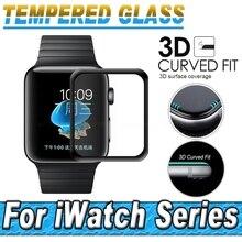 3D полное покрытие закаленное Стекло Экран протектор изогнутые края Экран защитный Плёнки для Apple iwatch серии 2 1 38 мм 42 мм