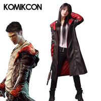 Devil May Cry Dante Jacket Cosplay Costume DMC 5 PU Leather Coat Trench Halloween Uniform For