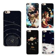Дирижабль Астронавт Звезды Крышка Коке Для iPhone 5 Чехол Для iPhone 5S Случае SE 5 Серии Лунная Ночь