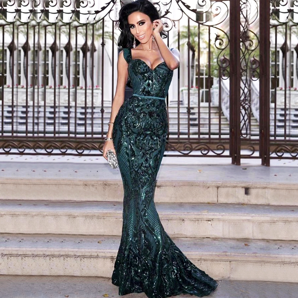 Elegant Sleeveless Sequin Evening Celebrity V Neck Green Backless Mesh Dress 2018 Women Vestidos Mermaid Solid Long Party Festa