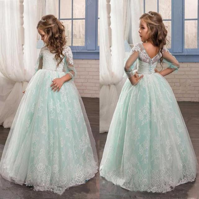 White Blue Tulle Flower Girl Dresses for Weddings Long Sleeve 2017 Lace  Appliques Buttons Kids Formal Pageant Party Gowns FH109 fd78656c23b7