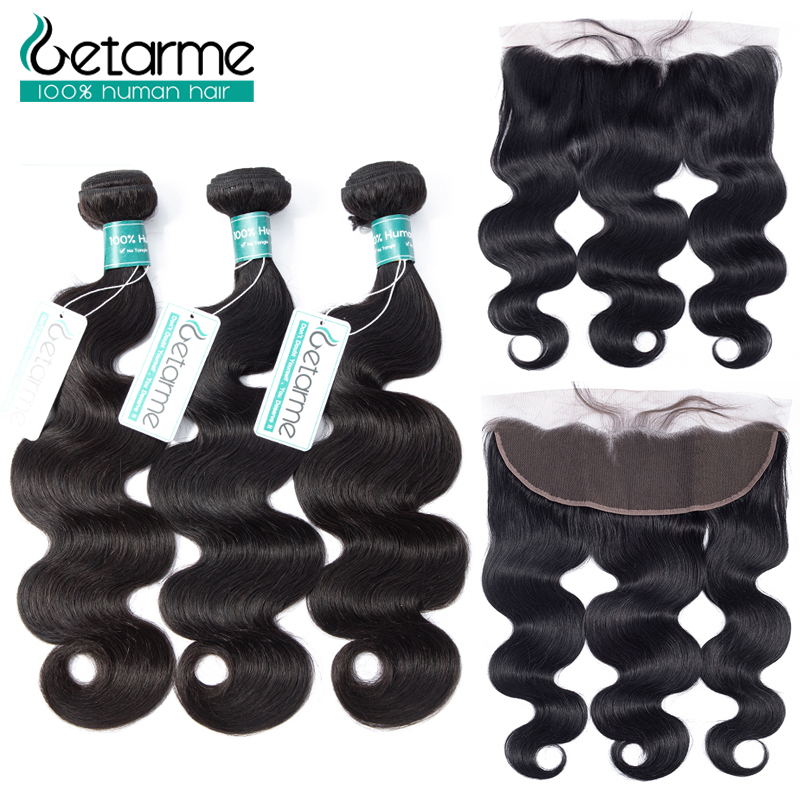 Realistic Brazilian Hair Body Wave Bundles With Frontal Closure 100% Human Hair Bundles With Lace Frontal With Baby Hair Non-remy Hair Extensions & Wigs 3/4 Bundles With Closure