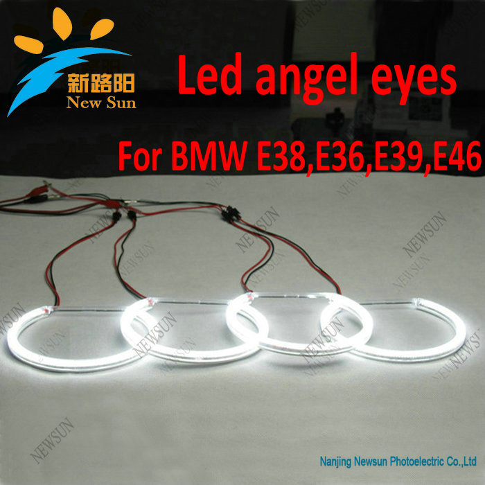 3014 SMD Led angel eyes halo ring kits for BMW E46 3 Series Sedan/Wagon Projector Headlight with Angel Eye led rings white 3014 smd led angel eyes headlight halo ring marker 131mm 145mm for bmw e46 non projector
