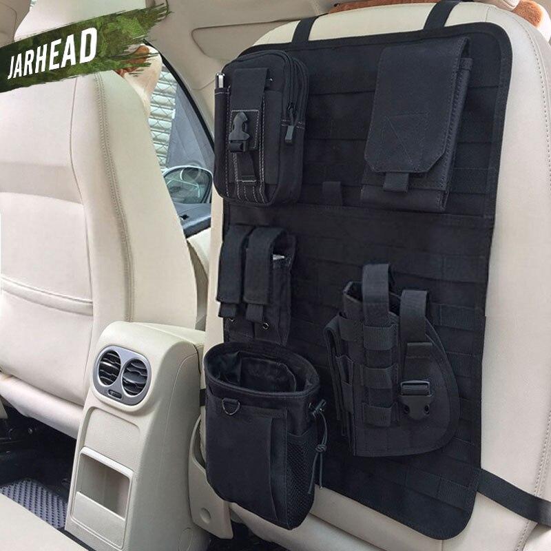 Evrensel taktik MOLLE araba koltuğu arka düzenleyicisi askeri MOLLE paneli araç koltuğu kapağı koruyucu kiti Mat siyah