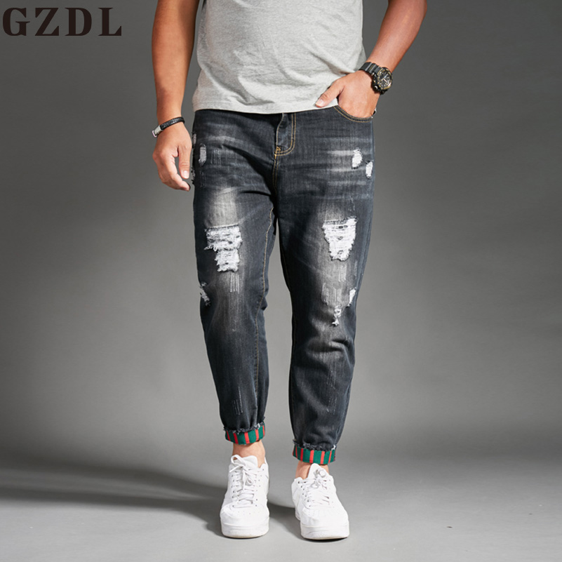 2018 New Mens Fashion Summer Thin Section Holes Jeans Stretch Korean Trend Slim Jeans Mens Casual Harlan Pants CL4656.