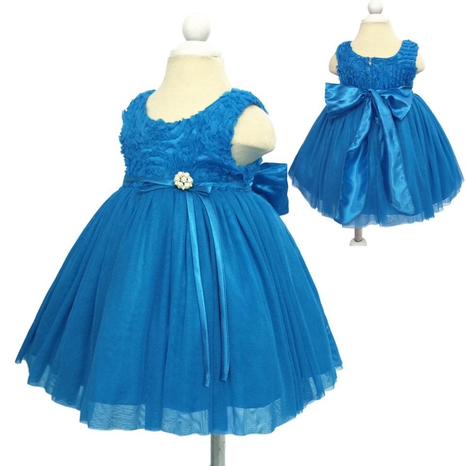 Girls Dress 1 Year Infant Summer Light Blue Bow Evening Dress ...
