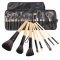 24 Pcs Eye Face Makeup Brushes Set Eye Shadow Powder Foundation Blusher Brown Cosmetic Tool Brush Kits with PU Case  (folded)
