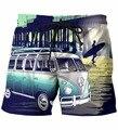 Autobús En Sunset Paisaje Impresión 3D Shorts Estilo de La Vendimia de Los Pantalones Cortos Para Hombre Hipster Streetwear Pantalones Cortos Cortocircuitos de la Playa de Vacaciones