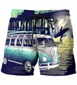 Bus In Sunset Scenery Print 3D Shorts Vintage Style Short Pants Mens Hipster Vacation Beach Shorts Streetwear Board Shorts