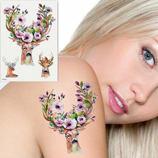 1 Hoja Tatuaje Temporal Pegatina Sika Ciervos Unicornio Flores Pluma