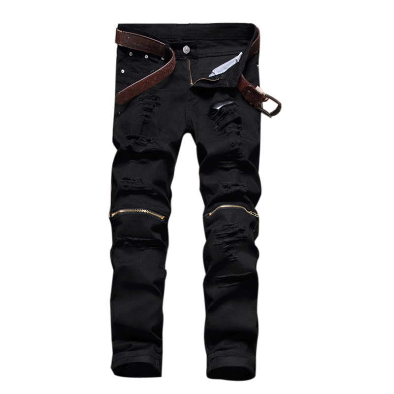 biker jeans skinny jeans men Fashion Destroyed Ripped Straight-Leg Jeans denim hiphop pants Washed black jeans for men plus size ripped straight leg biker jeans