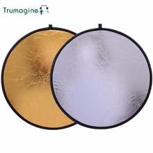 цена 60CM/24'' 2  IN 1 Portable Collapsible Photography Reflector Round Light Disc Reflector For Photo Studio Camera Gold Silver  онлайн в 2017 году