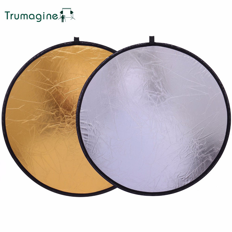 60CM/24'' 2 IN 1 Portable Collapsible Photography Reflector Round Light Disc Reflector For