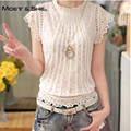 Plus size 3XL Lace Chiffon Women Blouse Shirt Korean Sweet Style Short Puff Sleeve Pullover Organza Loose Tops for Women C68276H