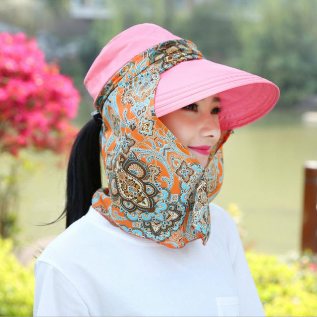 7c509fcfc55 Fashion Anti Uv Female Driving Cap Flower Cover Face Big Brim Sunscreen  Folding Zipper Outdoor Summer Sun Hats JN037