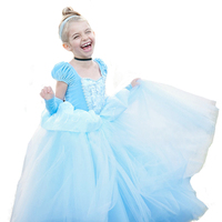Brand Cinderella Dress for Girls Party Pageant Dress up Kids Cosplay Costume Children Cinderella Princess Dress Cartoon Clothes